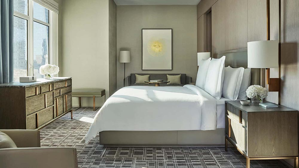 5 star hotel furniture, bed with sidetables, bed wood