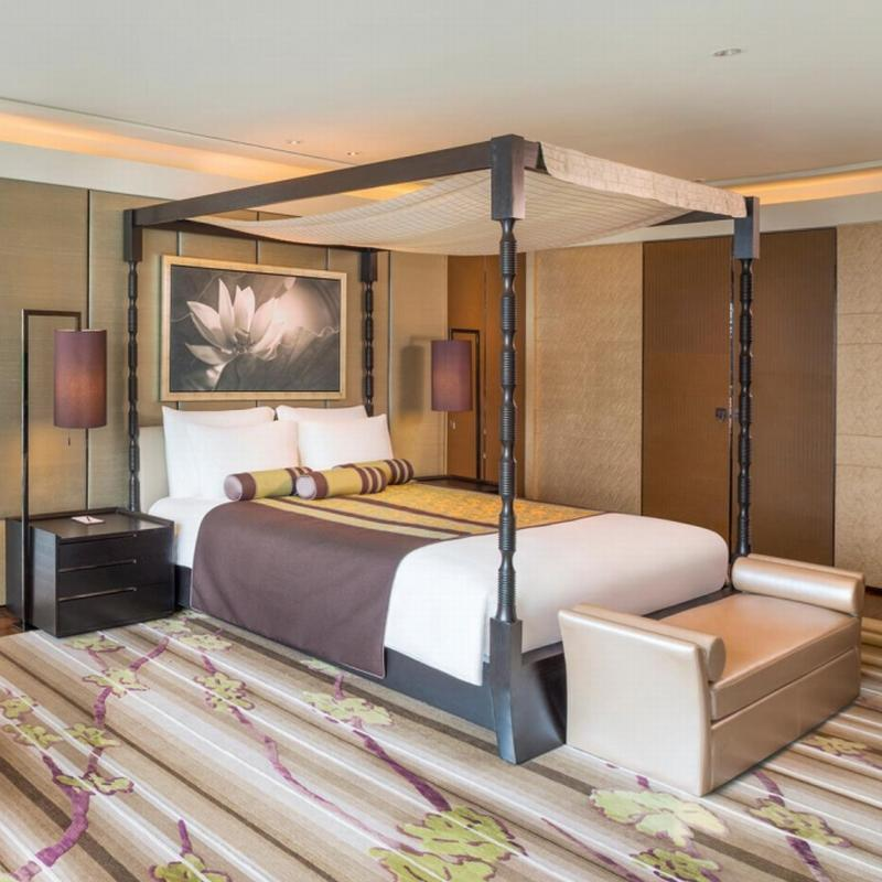 Hotel Room Furniture Sets Solid Wood Bed and Leather Sofa